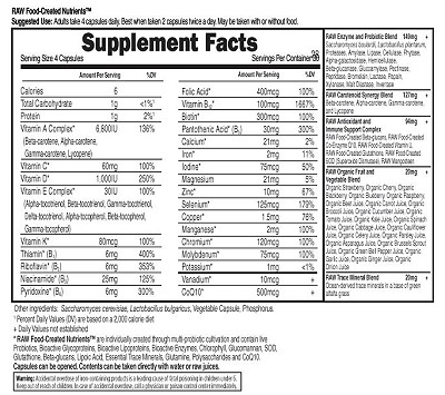 Vitamin Code Family Formula Supplement Facts
