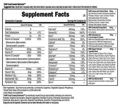 Vitamin Code Men's Formula Supplement Facts